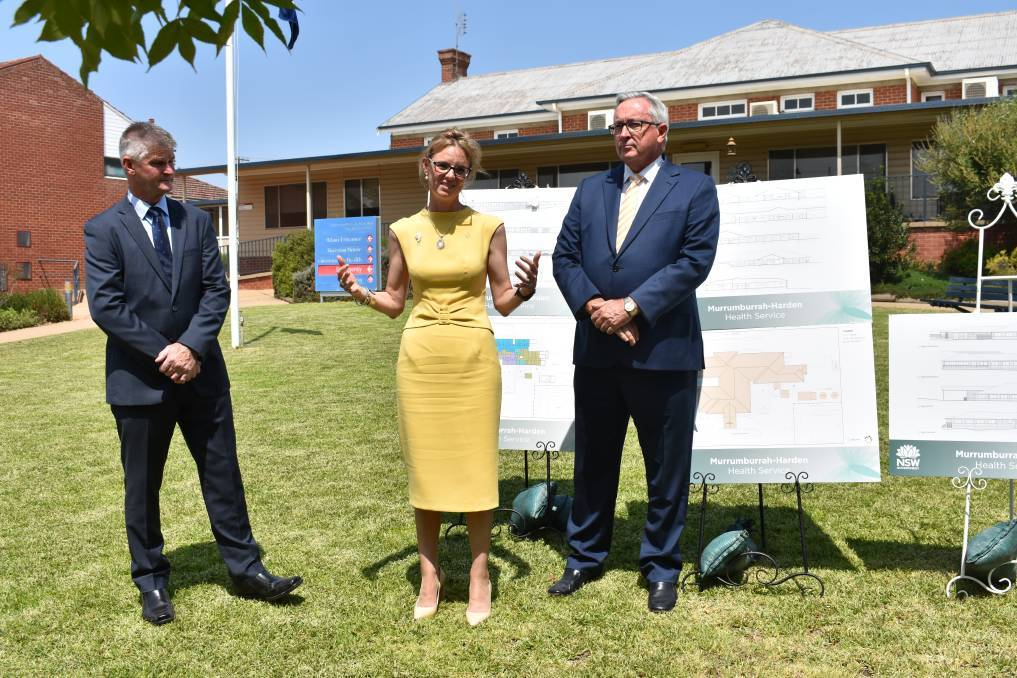 Cootamundra MP Steph Cooke with NSW Health Minister Brad Hazzard and Hilltops Mayor, Brian Ingram in 2019 when work commenced on the new healthcare service in Harden. The community is tomorrow invited to collect a brick from the former hospital after registering online to do so.